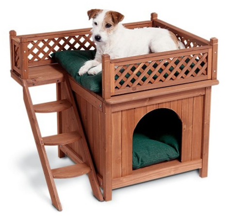 Wood Pet Dog House With View