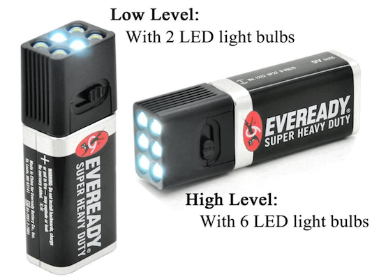 9V battery LED Flashlight