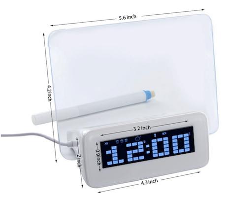 LED Alarm Clock with scribble memo board